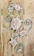 Metal Seaside Sea Turtle Wall Art Sculpture Distressed Scroll Metal Ocean Home A