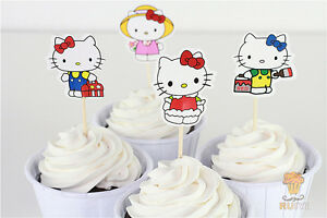 24pcs Hello Kitty Cupcake Toppers Kids Birthday Party Decoration Cat Baby Shower