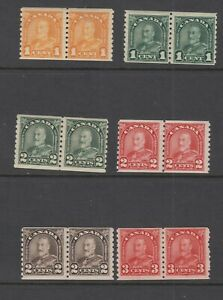 CANADA  GEORGE V DEFINITIVE ISSUE COIL PAIRS 178-83 ARCH ISSUE DEFINITIVES