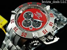 Invicta Mens 50mm Subaqua Noma III Chronograph Red Dial Silver Tone SS Watch
