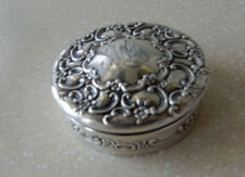 Antique TIFFANY & CO Round Sterling Silver Vanity Trinket Box (1891-1902)