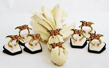 8 Napkin Rings Hand Designed Colorful Butterfly with Swarovski Crystals Enamel