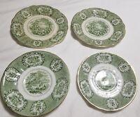 Antique WR Ridgway Historical Green Transferware Oriental 4 Plates 19th c.