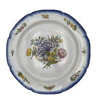 Ancien Grand Plat/Assiette Faïence Charolles Alfred Molin Fleurs Papillon 33 cm