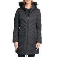 New Womens Kenneth Cole Long Down Puffer Jacket Coat Black M Medium Faux Fur