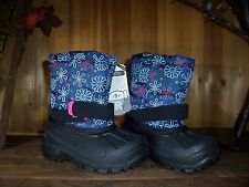 GIRLS WINTER BOOTS SIZE 2 -5 TEMP RATED FLOWER DESIGN KIDS WINTER SHOES CASUAL
