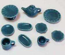 10-Piece Dollhouse Miniature Ceramic Set * Doll Mini Food Plates Teapot Cups c97