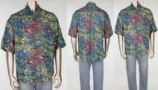 Vintage Goouch Abstract Funky Crazy Art All Over Print Loud Rayon Camp Shirt