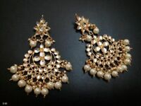 Traditional Ethnic Gold Tone Beads Kundan Earring Party Chand Bali White Jhumka