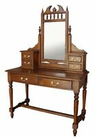 Solid Mahogany Gothic Dressing Table & Mirror 6 Drawers Antique Repro DST020