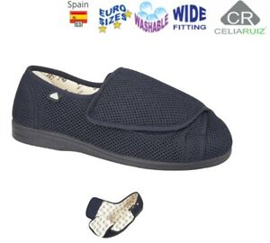 EXTRA WIDE SLIPPERS EEE DUAL FIT CASUAL TOUCH FASTENING WASHABLE SIZE 3 - 11 UK