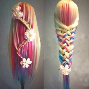 "26"" Human Hair Training Head Salon Hairdressing Practice Mannequin Doll & Clamp"
