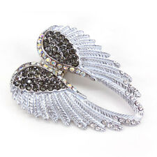 Lovely Silver Grey Angel Wing 5.5cm Long Use Austria Crystal Stretchy Ring