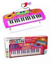 Kids Electronic Pink Blue Toy Rockstar Keyboard Piano Tune Set With Microphone
