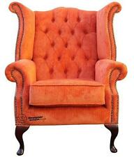Chesterfield Armchair Queen Anne High Back Wing Chair Azzuro Tangerine Orange
