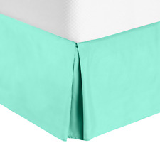 Hotel Luxury Pleated Tailored Bed Skirt - 14� Drop Dust Ruffle, King -Mint Green