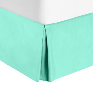 """Hotel Luxury Pleated Tailored Bed Skirt - 14"""" Drop Dust Ruffle, King -Mint Green"""