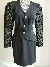 RIMINI womens VINTAGE black suit jacket coat SAKS sz 12 GRACE & STYLE WOW!