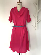 PAUL SMITH BEAUTIFUL SILK BRIGHT PINK DRESS WITH COWL NECK &BELT SZ 12 NEW &TAGS