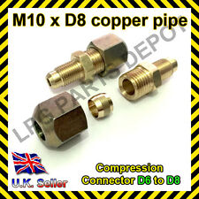 Copper pipe compression connector Adaptor M10xD8 pipe 6mm to 8mm adapter joint