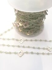 50 cm catena rosario cristalli color verde e fiori argentati