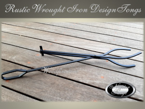 Fireplace TONGS - LOG GRABBER - CLAW Wrought Iron Style (Rustic)