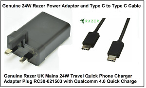 Genuine Razer UK Mains 24W Quick 4.0 Phone Charger Adapter Plug with USB Cable
