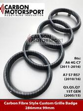AUDI A7 S7 RS7 GLOSS CARBON FIBRE BLACK FRONT RING BADGE BONNET GRILLE A6 Q3 5 7