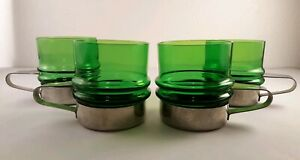 4 Retro Green Glass Ribbed Cups With 18/8 Stainless Steel Holders UNIQUE!