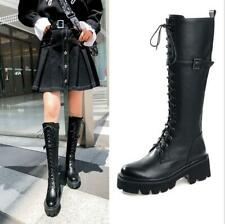 Winter Womens Lace Up Platform Buckle Punk Round Toe Knee High Riding Boots Chic