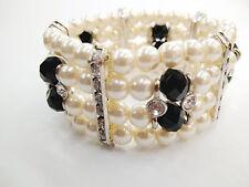 Stylish Bride 4 Layers Ivory Pearl Black Bead Crystal Stretch Bracelets P-06