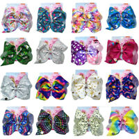 "8"" Jojo Bows Kids Halloween Party Large Hair Clip Ribbon Knot Jumbo for Girl"