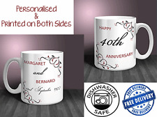 40th Wedding Anniversary (Ruby) Personalised Mug Gift Set (PAIR). (OC027)