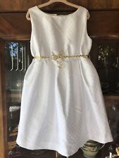 Romeo Gigli Jr. Italian Designer Girls White Fleur De Lis Pattern Dress Size 6