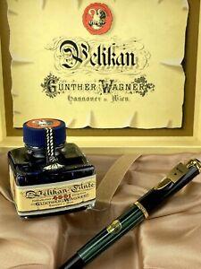 Pelikan Kolbenfüller M 400 Füller mit 585 Goldfeder Tintenglas Box unbenutzt +++