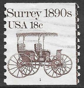 U.S. Scott #1907 18c Surrey Stamp USED PS1 Plate #1 F-VF Cat. $8.00