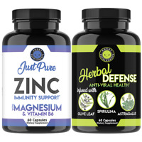 Just Pure Zinc + Magnesium & Vitamin B6 and Herbal Defense Immune Support 2PK