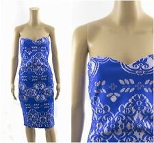 Lipsy Bandeau Blue Lace Bonded Bodycon Dress