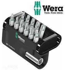 WERA Extra Tough 12 Pce PH/PZ/Torx Screwdriver Bit Set + Magnetic Holder 057422