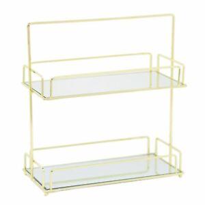 Luxury Golden 2 Tier Mirrored Vanity Display Tray | Decorative Perfume Organiser