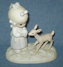 "Precious Moments ""To My Deer Freind"" Figurine w/ Girl Feeding Deer #100048"