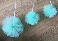 TULLE POM POMS -3 X Mint Hanging Decorations- Birthday/Hen Party/Baby Shower