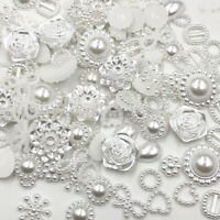 100pc Resin Round flower Bow Alien Pearls For Art Flatback Non Rhinestones
