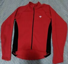 Pearl Izumi Long Sleeve Red Black Cycling Jersey Full Zip Pockets Size-S