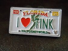 TINKER BELL I LOVE HEART TINK FLORIDA LICENSE PLATE 2007 Cast Lanyard DISNEY PIN