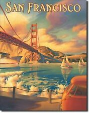 San Francisco Golden Bridge Vtg Reproduction Travel Ad Metal Sign Poster Picture