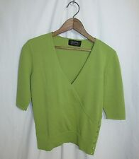 Dana Buchman Womens M  Short Sleeved V Neck Green Knit Top Sample
