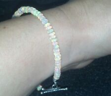 Rondelle 3mm 15ctw Ethiopian super fire Opal bracelet toggle 925 silver