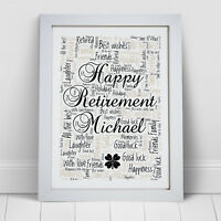 Personalised Word Art Retirement Picture Print Retired Gift Present Frame