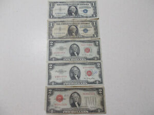 1928 1953 $2 Red 1957 $1 Blue 5 Imperfect Notes Old US Paper Money Currency